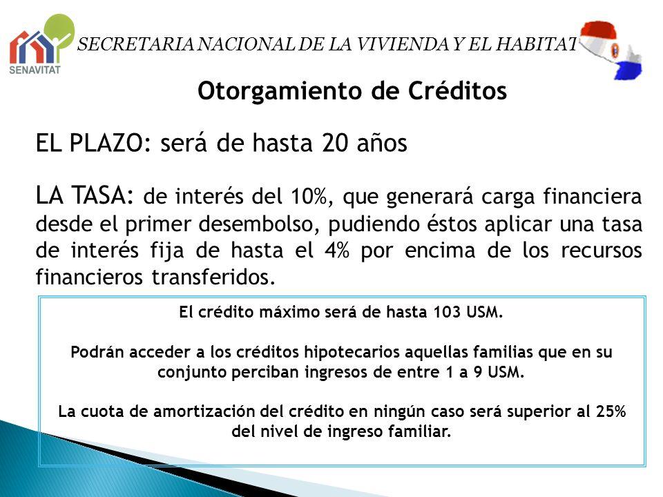 Otorgamiento de Créditos EL PLAZO: será de hasta 20 años LA TASA: de interés del 10%, que generará carga financiera desde el primer desembolso, pudien