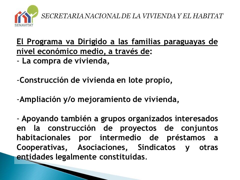 SECRETARIA NACIONAL DE LA VIVIENDA Y EL HABITAT El Programa va Dirigido a las familias paraguayas de nivel económico medio, a través de: - La compra d
