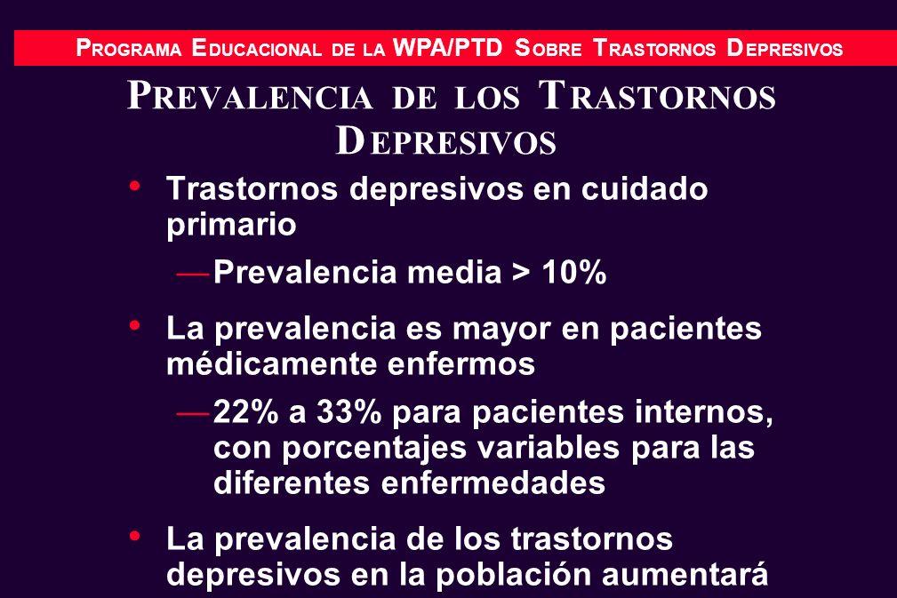 P ROGRAMA E DUCACIONAL DE LA WPA/PTD S OBRE T RASTORNOS D EPRESIVOS P REVALENCIA DE LOS T RASTORNOS D EPRESIVOS Trastornos depresivos en cuidado prima
