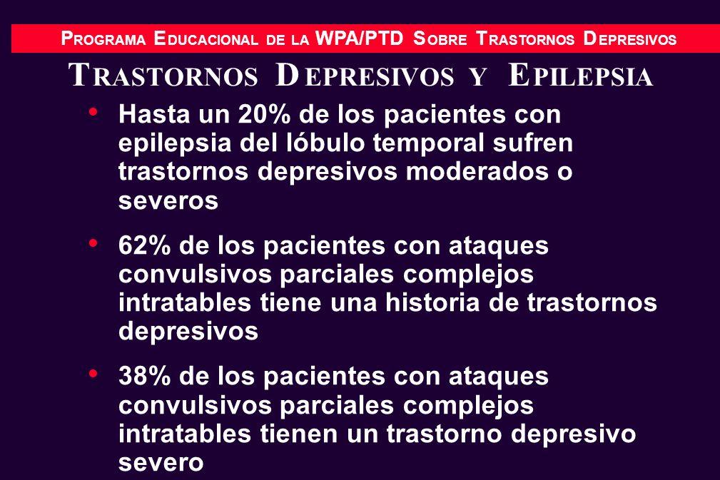P ROGRAMA E DUCACIONAL DE LA WPA/PTD S OBRE T RASTORNOS D EPRESIVOS T RASTORNOS D EPRESIVOS Y E PILEPSIA Hasta un 20% de los pacientes con epilepsia d