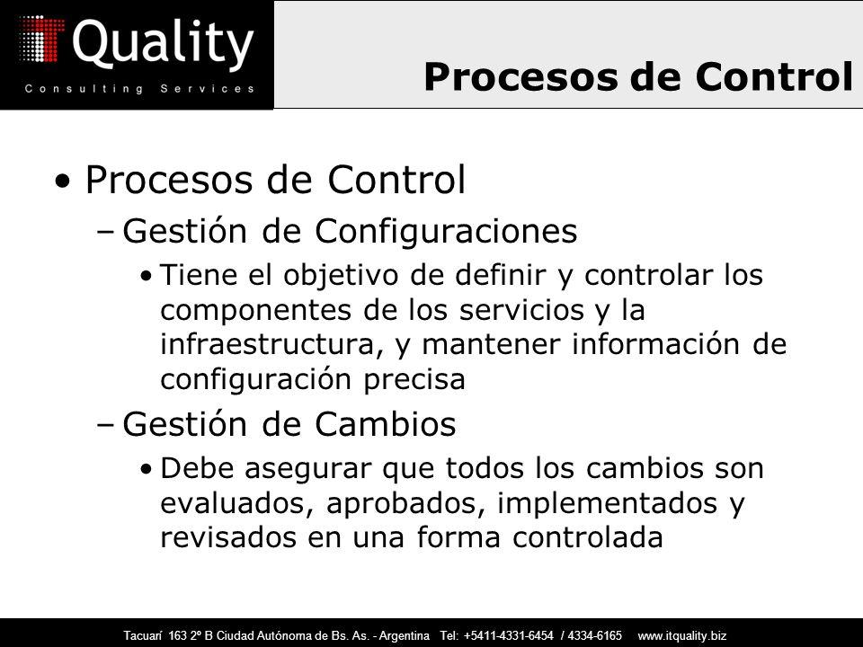 Tacuarí 163 2º B Ciudad Autónoma de Bs. As. - Argentina Tel: +5411-4331-6454 / 4334-6165 www.itquality.biz Procesos de Control –Gestión de Configuraci