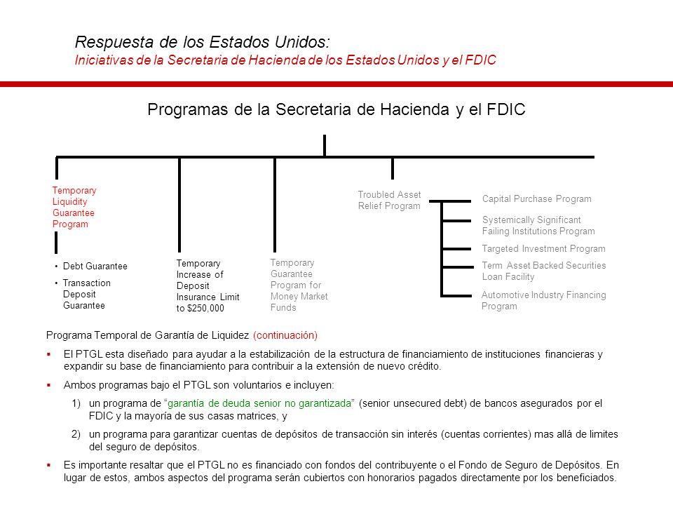 Respuesta de los Estados Unidos: Iniciativas de la Secretaria de Hacienda de los Estados Unidos y el FDIC Programa Temporal de Garantía de Liquidez (c