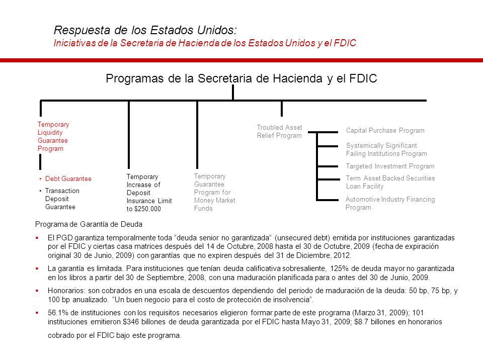 Respuesta de los Estados Unidos: Iniciativas de la Secretaria de Hacienda de los Estados Unidos y el FDIC Programa de Garantía de Deuda El PGD garanti