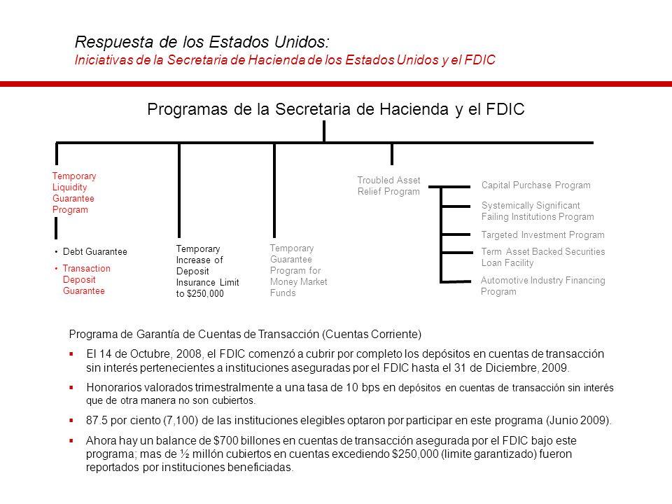 Respuesta de los Estados Unidos: Iniciativas de la Secretaria de Hacienda de los Estados Unidos y el FDIC Programa de Garantía de Cuentas de Transacci