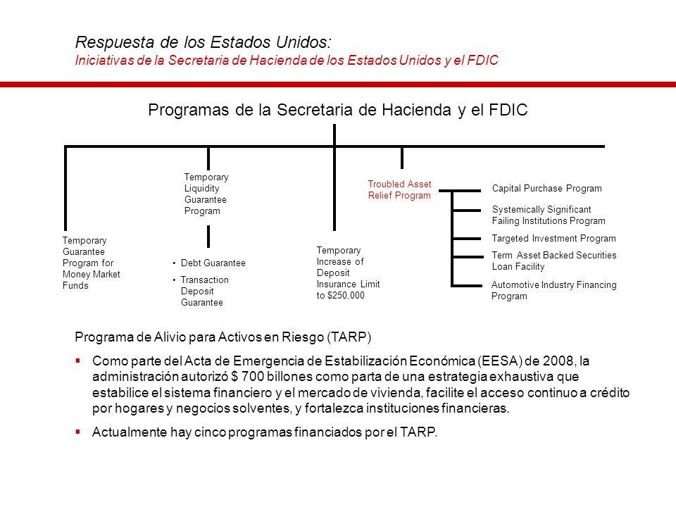 Respuesta de los Estados Unidos: Iniciativas de la Secretaria de Hacienda de los Estados Unidos y el FDIC Programa de Alivio para Activos en Riesgo (T