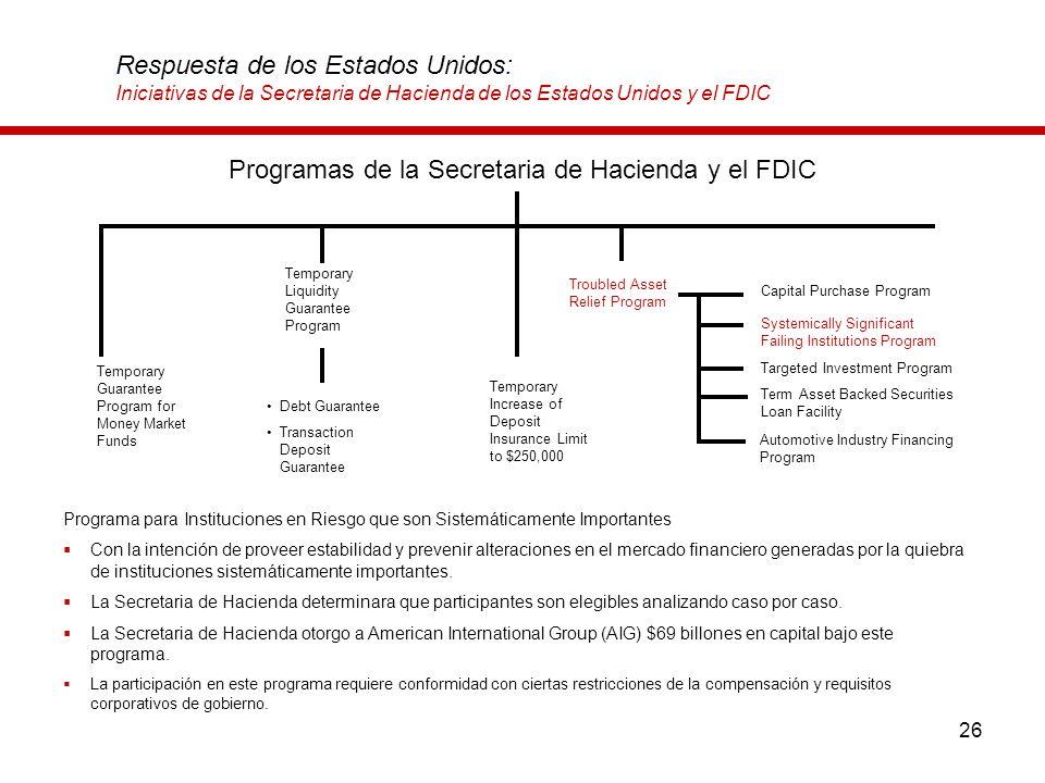 26 Respuesta de los Estados Unidos: Iniciativas de la Secretaria de Hacienda de los Estados Unidos y el FDIC Programa para Instituciones en Riesgo que
