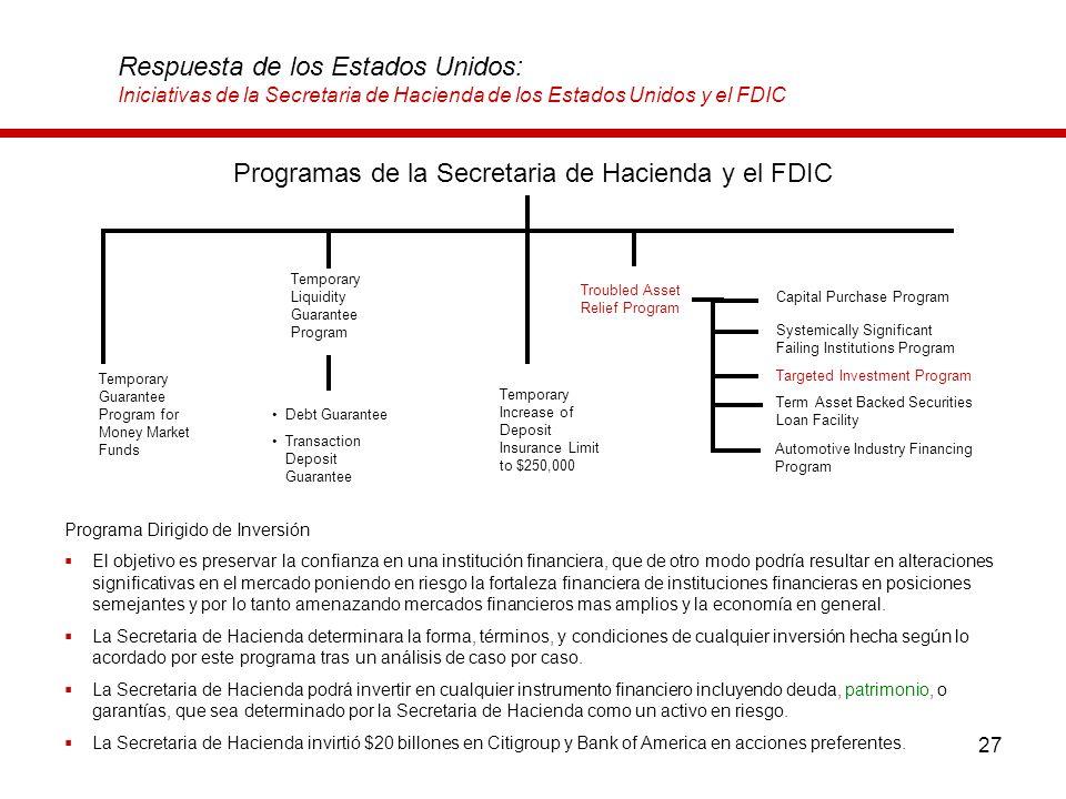 27 Respuesta de los Estados Unidos: Iniciativas de la Secretaria de Hacienda de los Estados Unidos y el FDIC Programa Dirigido de Inversión El objetiv