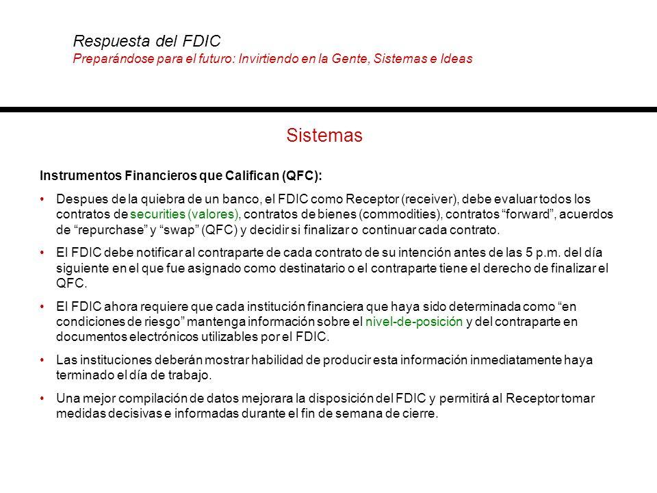 Sistemas Instrumentos Financieros que Califican (QFC): Despues de la quiebra de un banco, el FDIC como Receptor (receiver), debe evaluar todos los con
