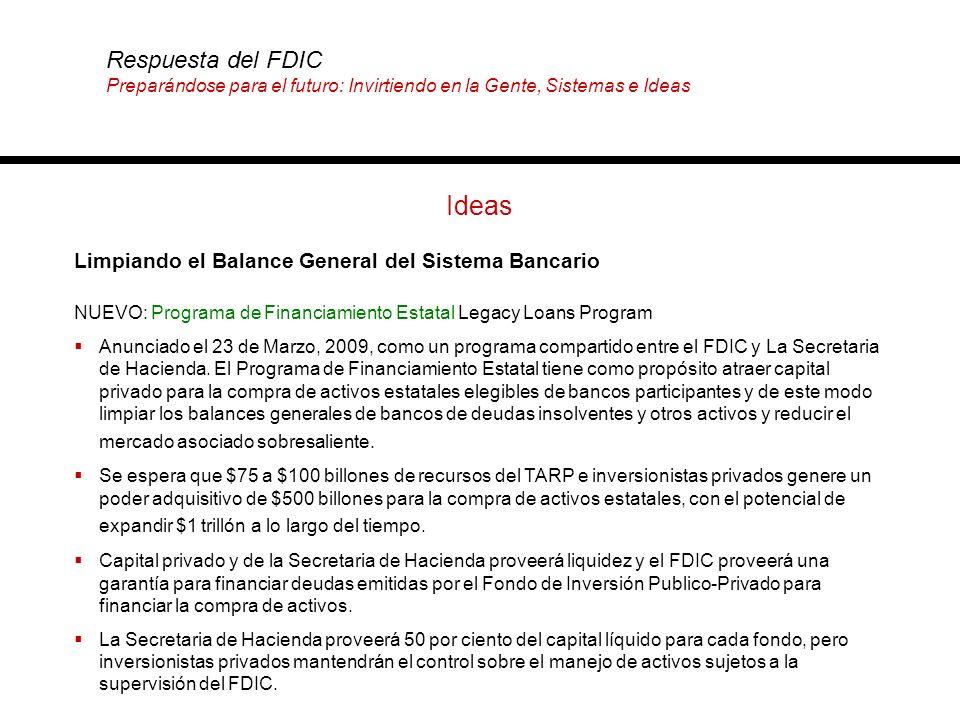 Ideas Limpiando el Balance General del Sistema Bancario Respuesta del FDIC Preparándose para el futuro: Invirtiendo en la Gente, Sistemas e Ideas NUEV