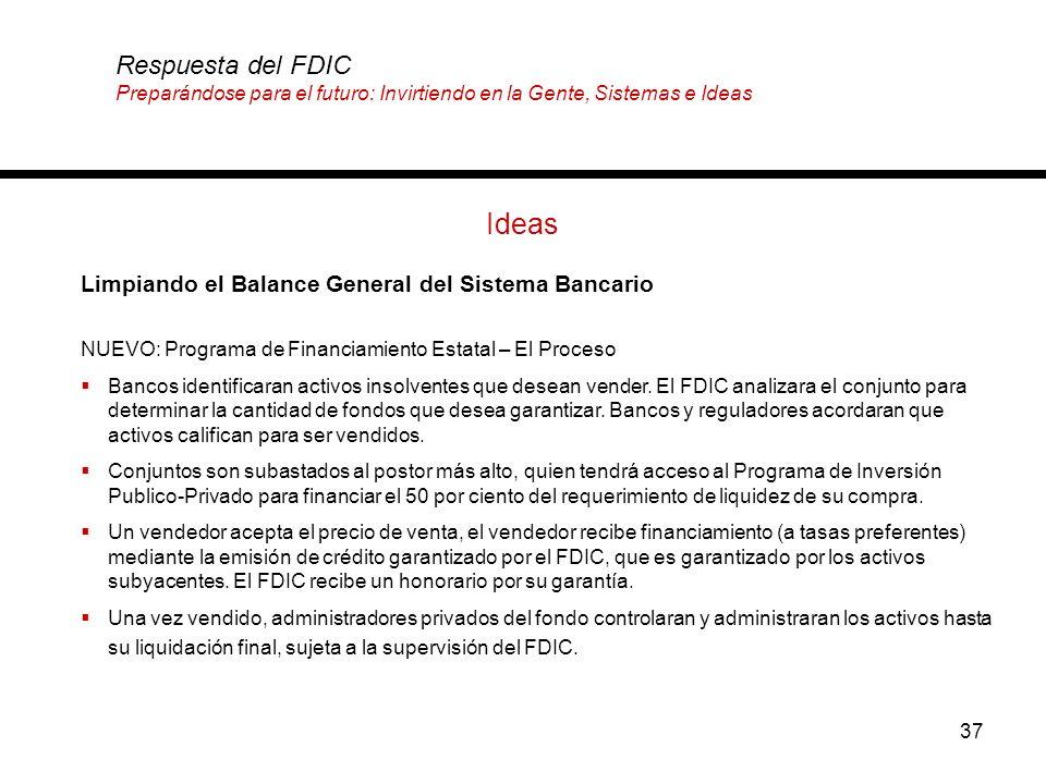 37 Ideas Limpiando el Balance General del Sistema Bancario Respuesta del FDIC Preparándose para el futuro: Invirtiendo en la Gente, Sistemas e Ideas N