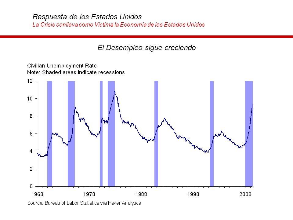 El Desempleo sigue creciendo Respuesta de los Estados Unidos La Crisis conlleva como Victima la Economía de los Estados Unidos