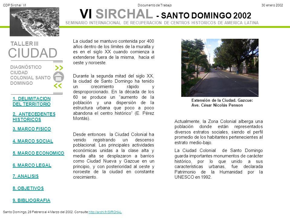 VI SIRCHAL - SANTO DOMINGO 2002 DIAGNÓSTICO CIUDAD COLONIAL SANTO DOMINGO TALLER III SEMINARIO INTERNACIONAL DE RECUPERACION DE CENTROS HISTORICOS DE