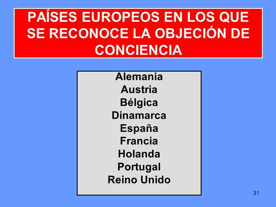 31 Alemania Austria Bélgica Dinamarca España Francia Holanda Portugal Reino Unido PAÍSES EUROPEOS EN LOS QUE SE RECONOCE LA OBJECIÓN DE CONCIENCIA