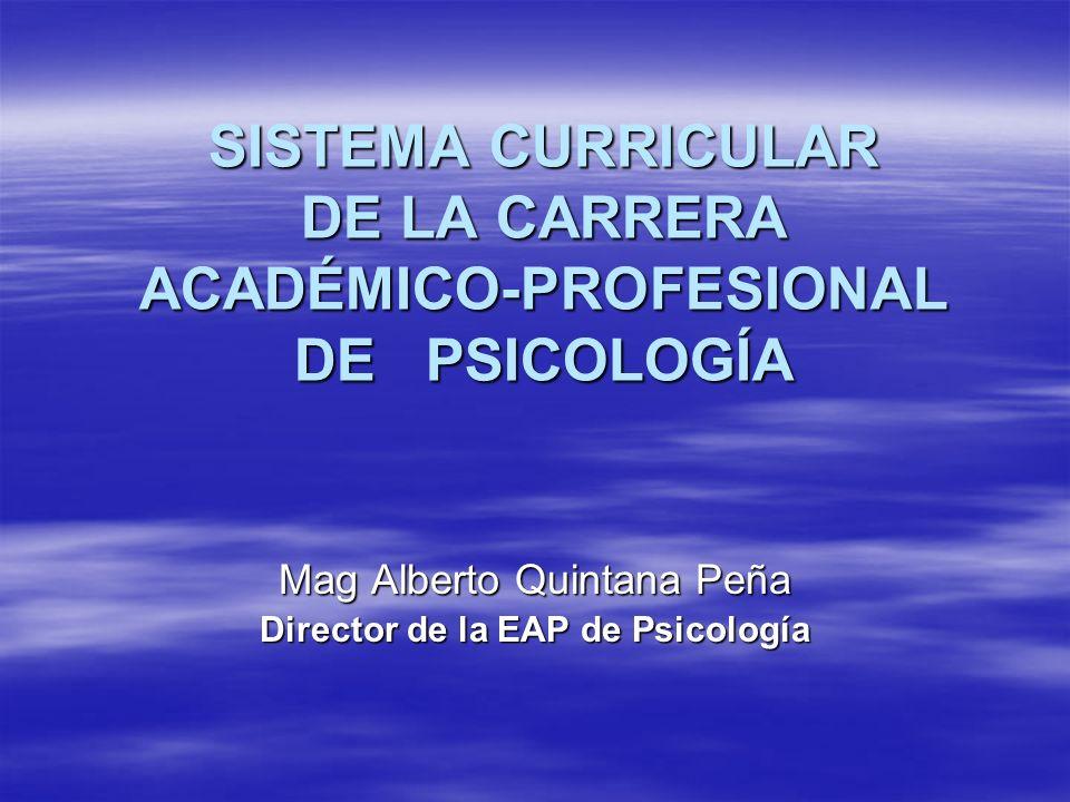 SISTEMA CURRICULAR DE LA CARRERA ACADÉMICO-PROFESIONAL DE PSICOLOGÍA Mag Alberto Quintana Peña Director de la EAP de Psicología