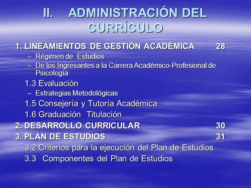 II.ADMINISTRACIÓN DEL CURRÍCULO 1.