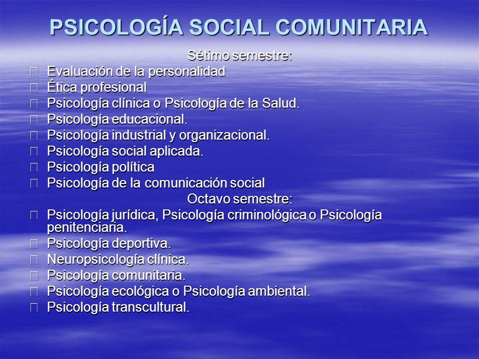 PSICOLOGÍA SOCIAL COMUNITARIA Área de Psicología Social Comunitaria Cursos electivos Historia de la Psicología social.