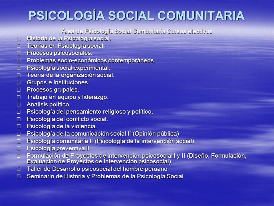 PSICOLOGÍA SOCIAL COMUNITARIA Área de Psicología Social Comunitaria Cursos electivos Historia de la Psicología social. Historia de la Psicología socia