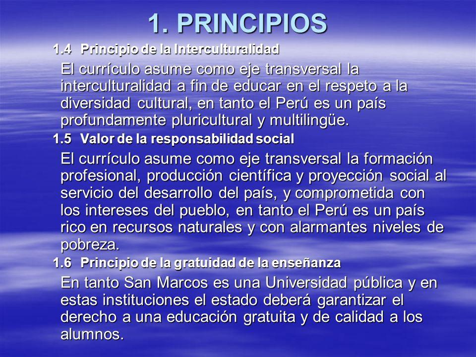 1. PRINCIPIOS 1.4Principio de la Interculturalidad El currículo asume como eje transversal la interculturalidad a fin de educar en el respeto a la div