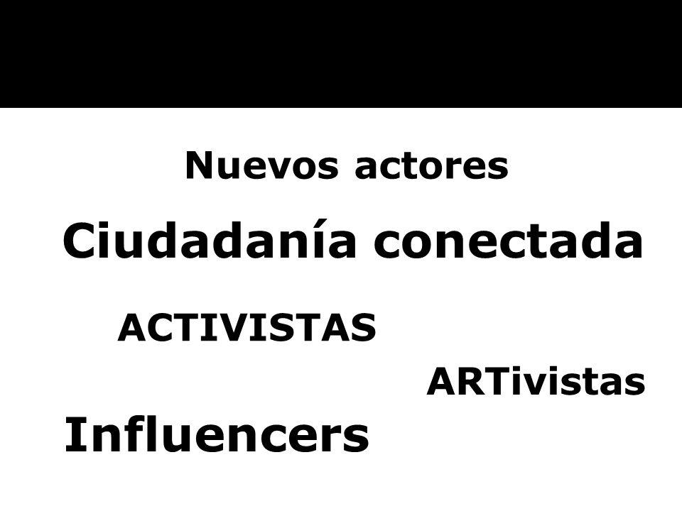 Nuevos actores Ciudadanía conectada ACTIVISTAS ARTivistas Influencers