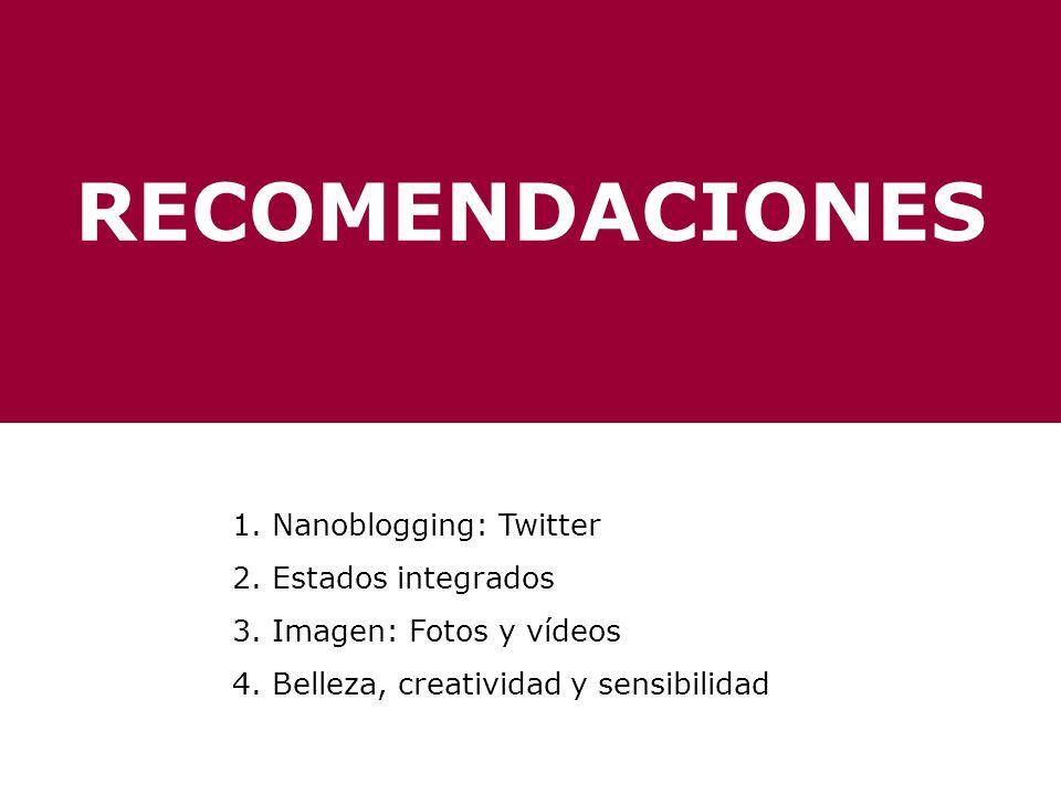 RECOMENDACIONES 1. Nanoblogging: Twitter 2. Estados integrados 3. Imagen: Fotos y vídeos 4. Belleza, creatividad y sensibilidad