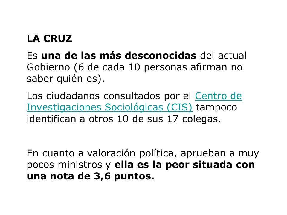 LA CRUZ Es una de las más desconocidas del actual Gobierno (6 de cada 10 personas afirman no saber quién es). Los ciudadanos consultados por el Centro