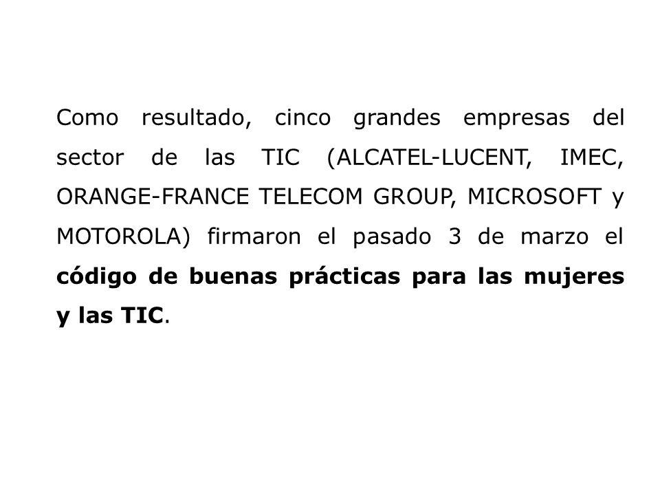 Como resultado, cinco grandes empresas del sector de las TIC (ALCATEL-LUCENT, IMEC, ORANGE-FRANCE TELECOM GROUP, MICROSOFT y MOTOROLA) firmaron el pas