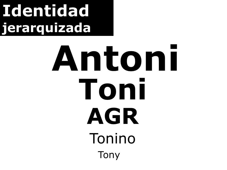 Identidad jerarquizada Antoni Toni AGR Tonino Tony