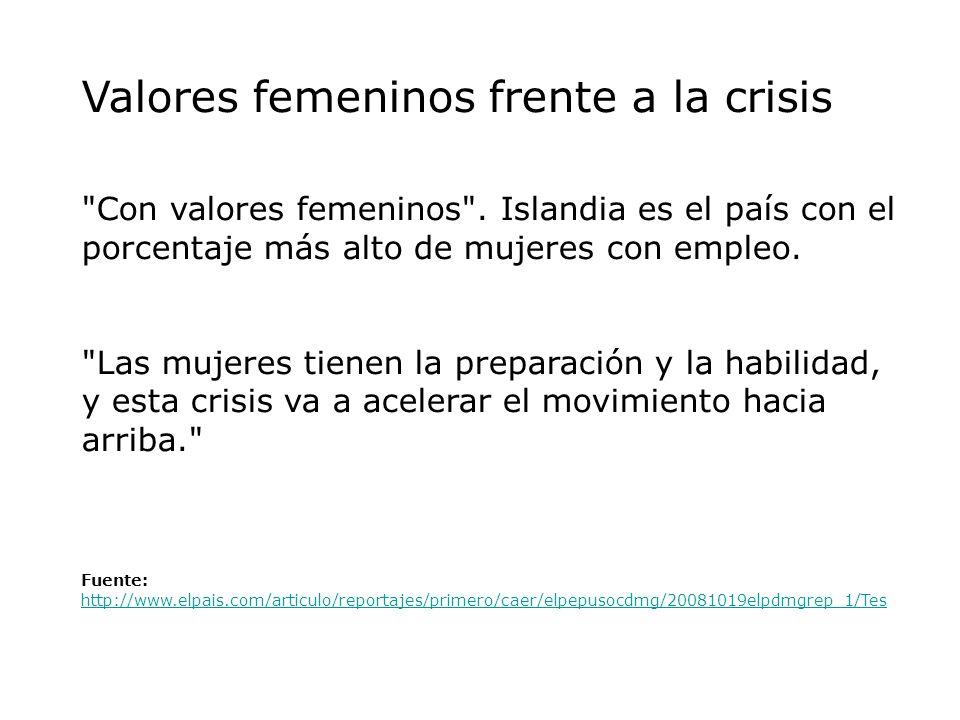 Valores femeninos frente a la crisis Con valores femeninos .