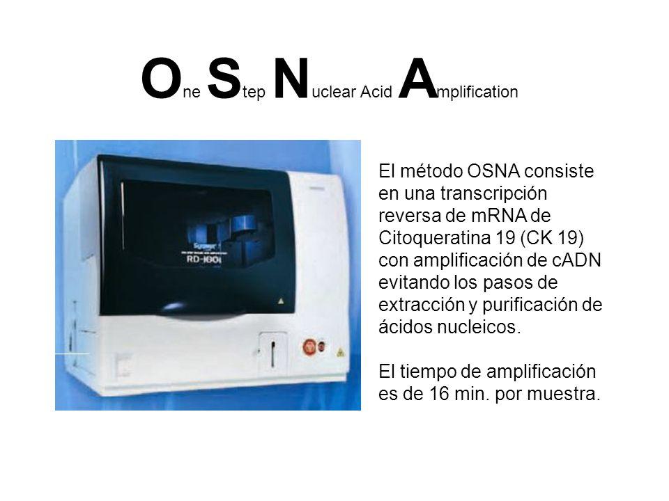 O ne S tep N uclear Acid A mplification El método OSNA consiste en una transcripción reversa de mRNA de Citoqueratina 19 (CK 19) con amplificación de