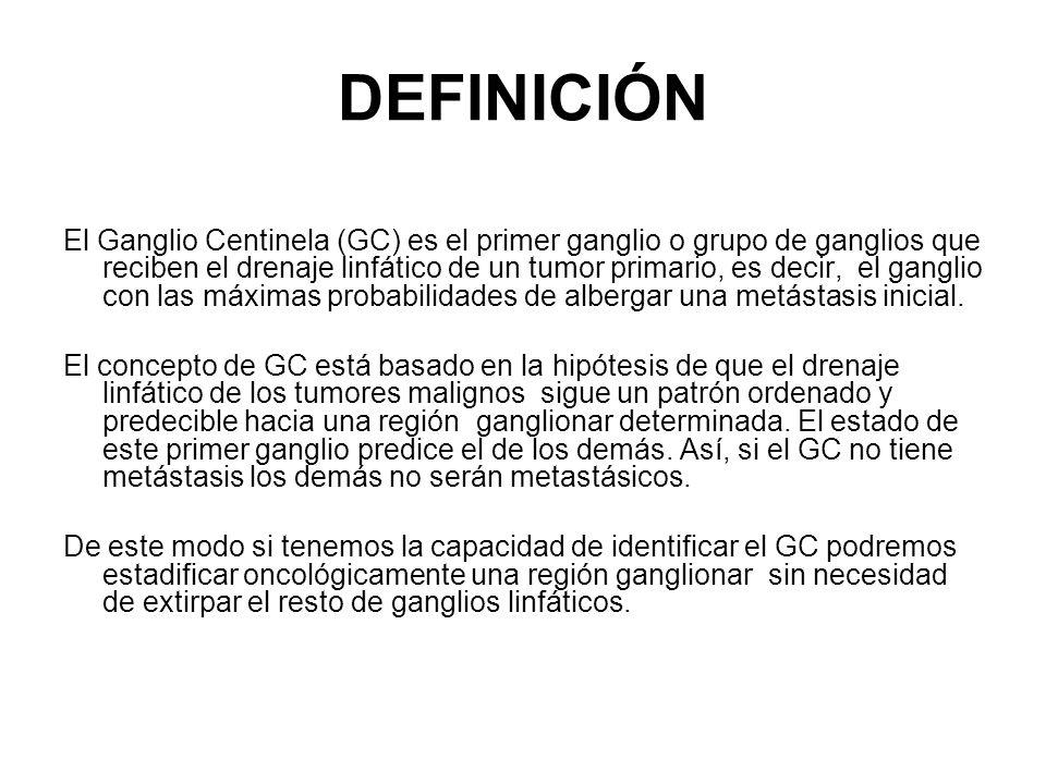 DEFINICIÓN El Ganglio Centinela (GC) es el primer ganglio o grupo de ganglios que reciben el drenaje linfático de un tumor primario, es decir, el gang