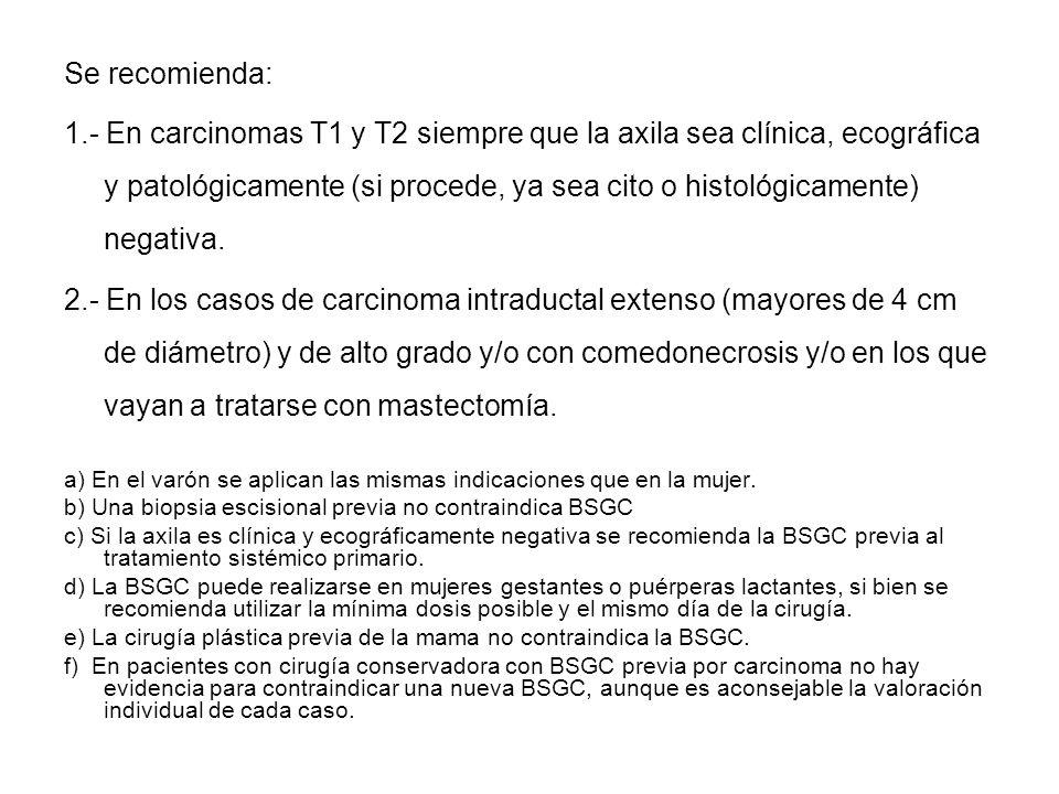 Se recomienda: 1.- En carcinomas T1 y T2 siempre que la axila sea clínica, ecográfica y patológicamente (si procede, ya sea cito o histológicamente) n