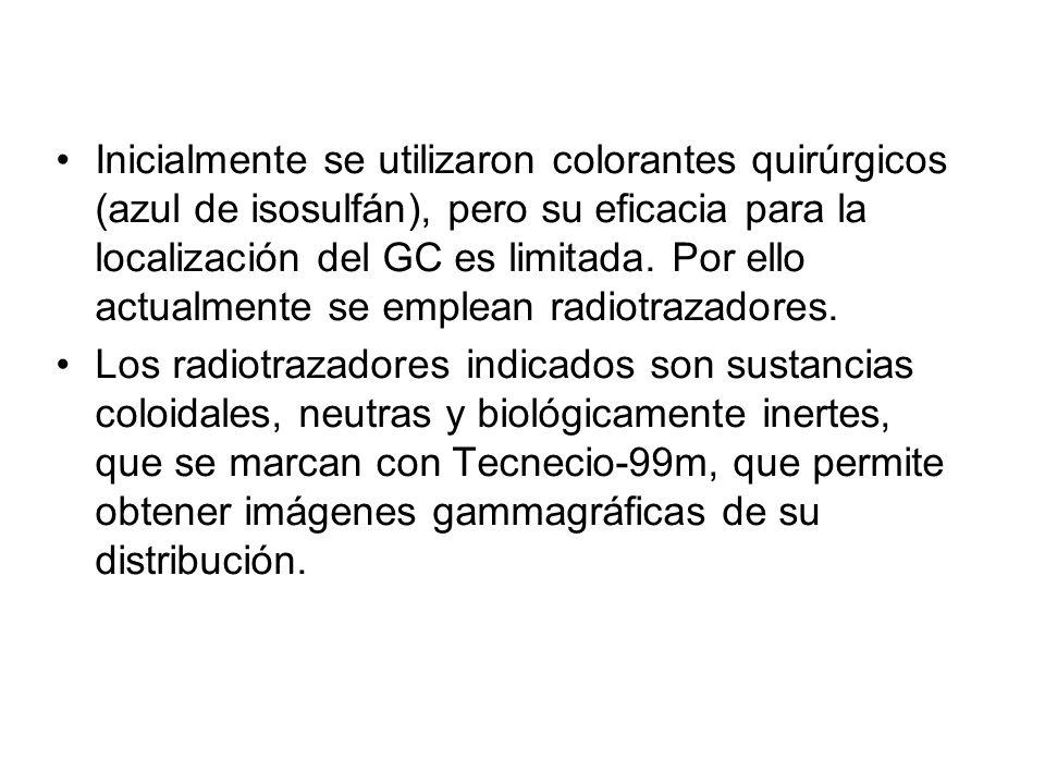 Inicialmente se utilizaron colorantes quirúrgicos (azul de isosulfán), pero su eficacia para la localización del GC es limitada. Por ello actualmente