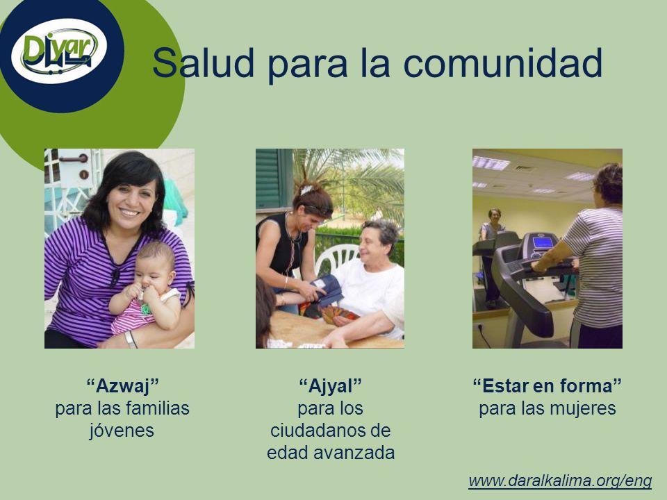 Salud para la comunidad www.daralkalima.org/eng Azwaj para las familias jóvenes Ajyal para los ciudadanos de edad avanzada Estar en forma para las muj
