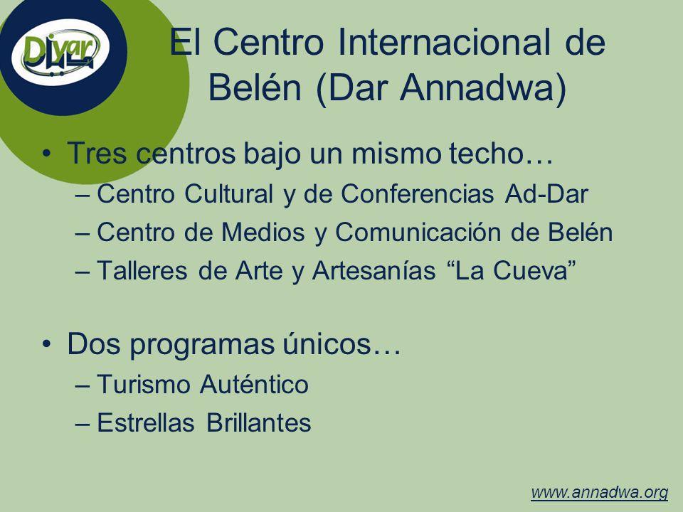 El Centro Internacional de Belén (Dar Annadwa) Tres centros bajo un mismo techo… –Centro Cultural y de Conferencias Ad-Dar –Centro de Medios y Comunic