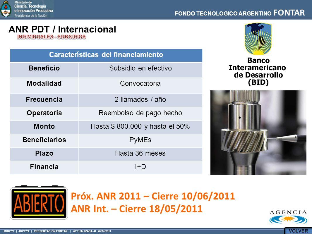 MINCYT | ANPCYT | PRESENTACION FONTAR | ACTUALIZADA AL 26/04/2011 FONDO TECNOLOGICO ARGENTINO FONTAR ANR PDT / Internacional Características del finan