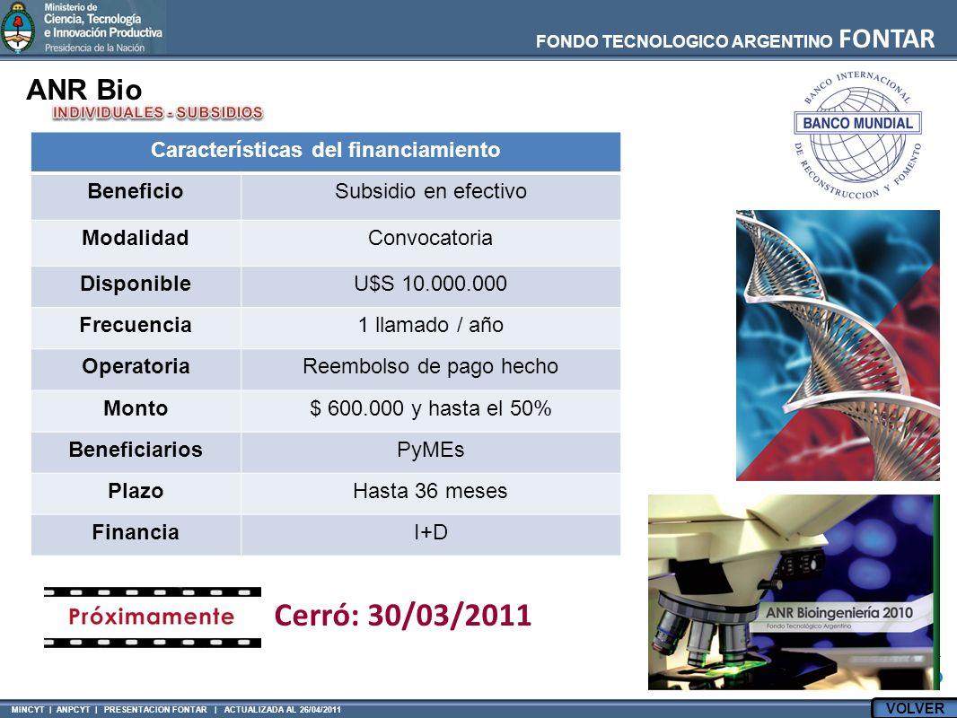 MINCYT | ANPCYT | PRESENTACION FONTAR | ACTUALIZADA AL 26/04/2011 FONDO TECNOLOGICO ARGENTINO FONTAR ANR Bio Características del financiamiento BeneficioSubsidio en efectivo ModalidadConvocatoria DisponibleU$S 10.000.000 Frecuencia1 llamado / año OperatoriaReembolso de pago hecho Monto$ 600.000 y hasta el 50% BeneficiariosPyMEs PlazoHasta 36 meses FinanciaI+D Cerró: 30/03/2011 VOLVER