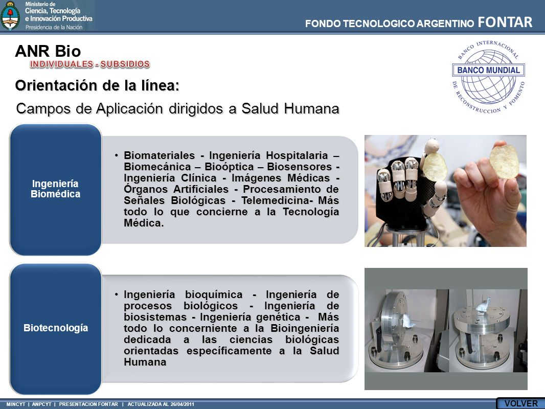FONDO TECNOLOGICO ARGENTINO FONTAR MINCYT | ANPCYT | PRESENTACION FONTAR | ACTUALIZADA AL 26/04/2011 ANR Bio Campos de Aplicación dirigidos a Salud Humana Biomateriales - Ingeniería Hospitalaria – Biomecánica – Bioóptica – Biosensores - Ingeniería Clínica - Imágenes Médicas - Órganos Artificiales - Procesamiento de Señales Biológicas - Telemedicina- Más todo lo que concierne a la Tecnología Médica.Biomateriales - Ingeniería Hospitalaria – Biomecánica – Bioóptica – Biosensores - Ingeniería Clínica - Imágenes Médicas - Órganos Artificiales - Procesamiento de Señales Biológicas - Telemedicina- Más todo lo que concierne a la Tecnología Médica.