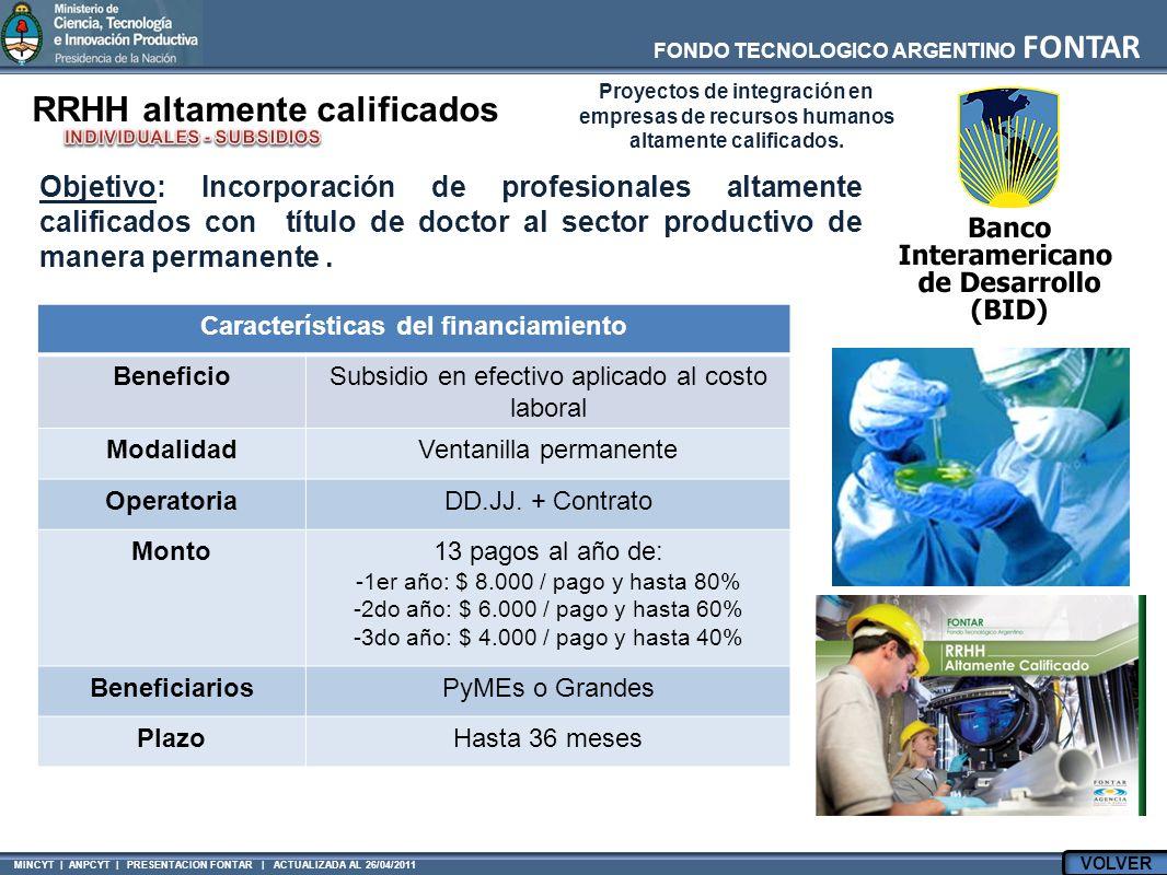 FONDO TECNOLOGICO ARGENTINO FONTAR MINCYT | ANPCYT | PRESENTACION FONTAR | ACTUALIZADA AL 26/04/2011 Características del financiamiento BeneficioSubsidio en efectivo aplicado al costo laboral ModalidadVentanilla permanente OperatoriaDD.JJ.