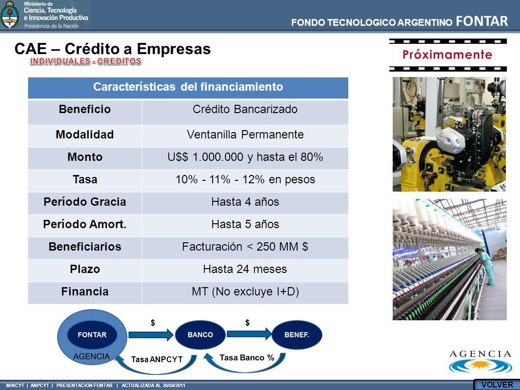 MINCYT | ANPCYT | PRESENTACION FONTAR | ACTUALIZADA AL 26/04/2011 FONDO TECNOLOGICO ARGENTINO FONTAR CAE – Crédito a Empresas Características del financiamiento BeneficioCrédito Bancarizado ModalidadVentanilla Permanente MontoU$$ 1.000.000 y hasta el 80% Tasa10% - 11% - 12% en pesos Período GraciaHasta 4 años Período Amort.Hasta 5 años BeneficiariosFacturación < 250 MM $ PlazoHasta 24 meses FinanciaMT (No excluye I+D) Tasa ANPCYT VOLVER