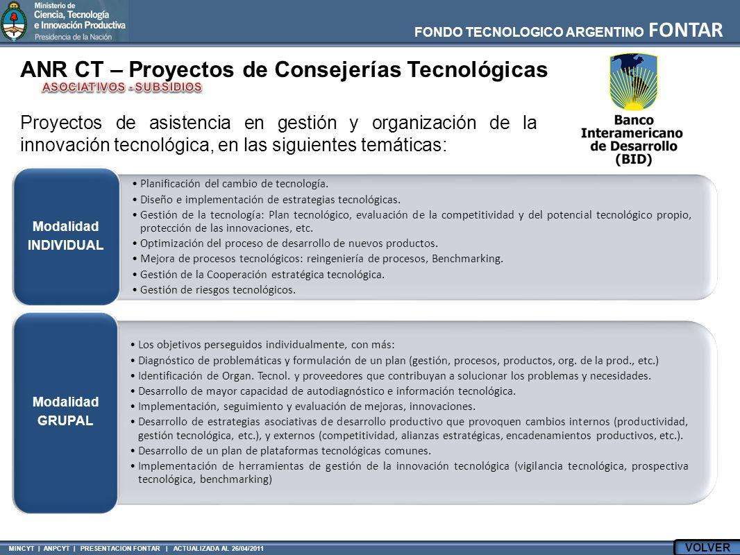 FONDO TECNOLOGICO ARGENTINO FONTAR MINCYT | ANPCYT | PRESENTACION FONTAR | ACTUALIZADA AL 26/04/2011 ANR CT – Proyectos de Consejerías Tecnológicas Planificación del cambio de tecnología.