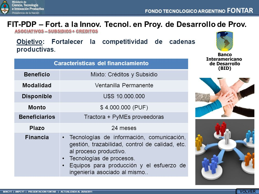 FONDO TECNOLOGICO ARGENTINO FONTAR MINCYT | ANPCYT | PRESENTACION FONTAR | ACTUALIZADA AL 26/04/2011 FIT-PDP – Fort. a la Innov. Tecnol. en Proy. de D