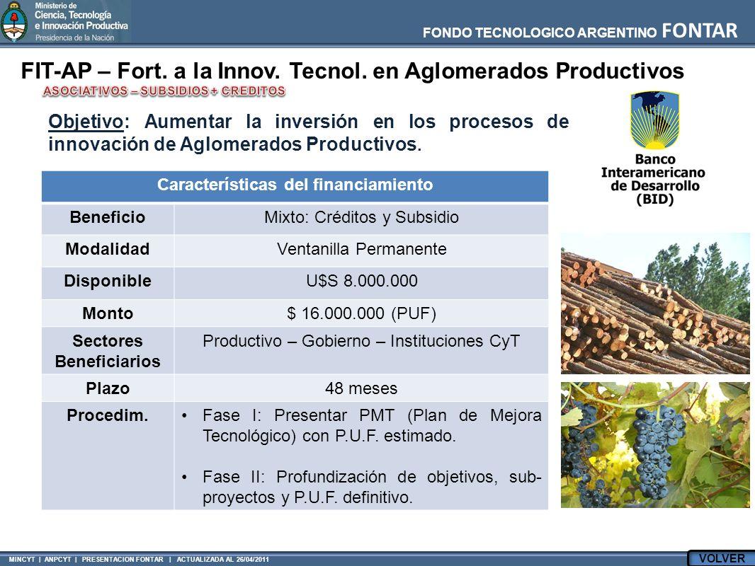 FONDO TECNOLOGICO ARGENTINO FONTAR MINCYT | ANPCYT | PRESENTACION FONTAR | ACTUALIZADA AL 26/04/2011 FIT-AP – Fort. a la Innov. Tecnol. en Aglomerados