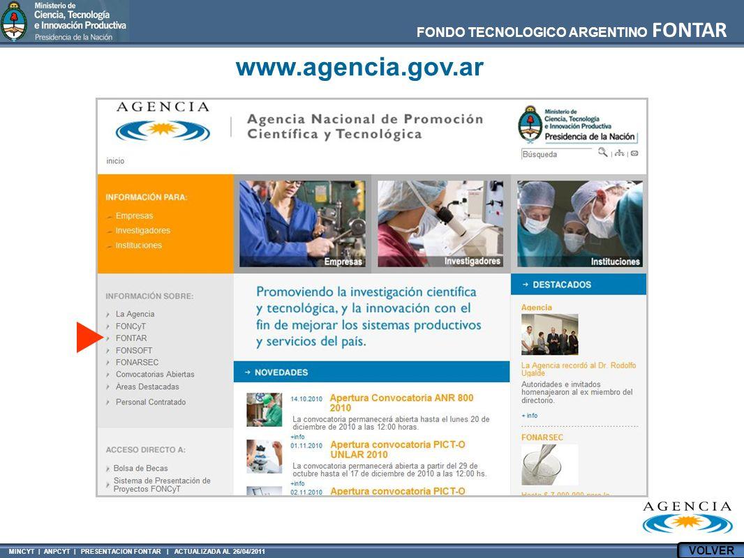 MINCYT | ANPCYT | PRESENTACION FONTAR | ACTUALIZADA AL 26/04/2011 FONDO TECNOLOGICO ARGENTINO FONTAR www.agencia.gov.ar VOLVER