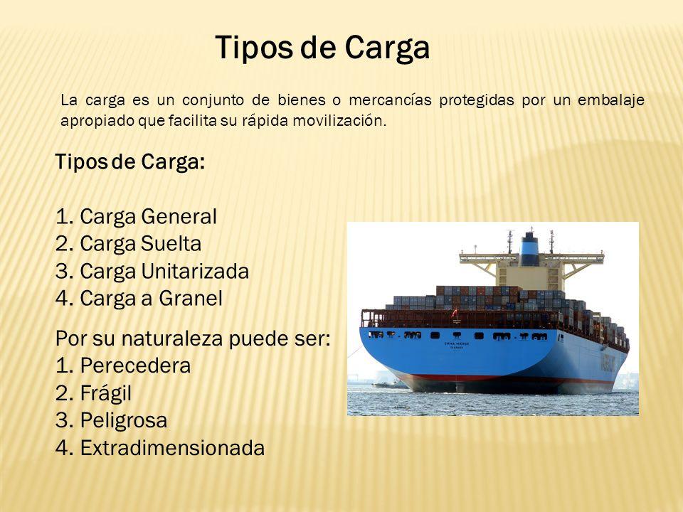 Tipos de Carga La carga es un conjunto de bienes o mercancías protegidas por un embalaje apropiado que facilita su rápida movilización.