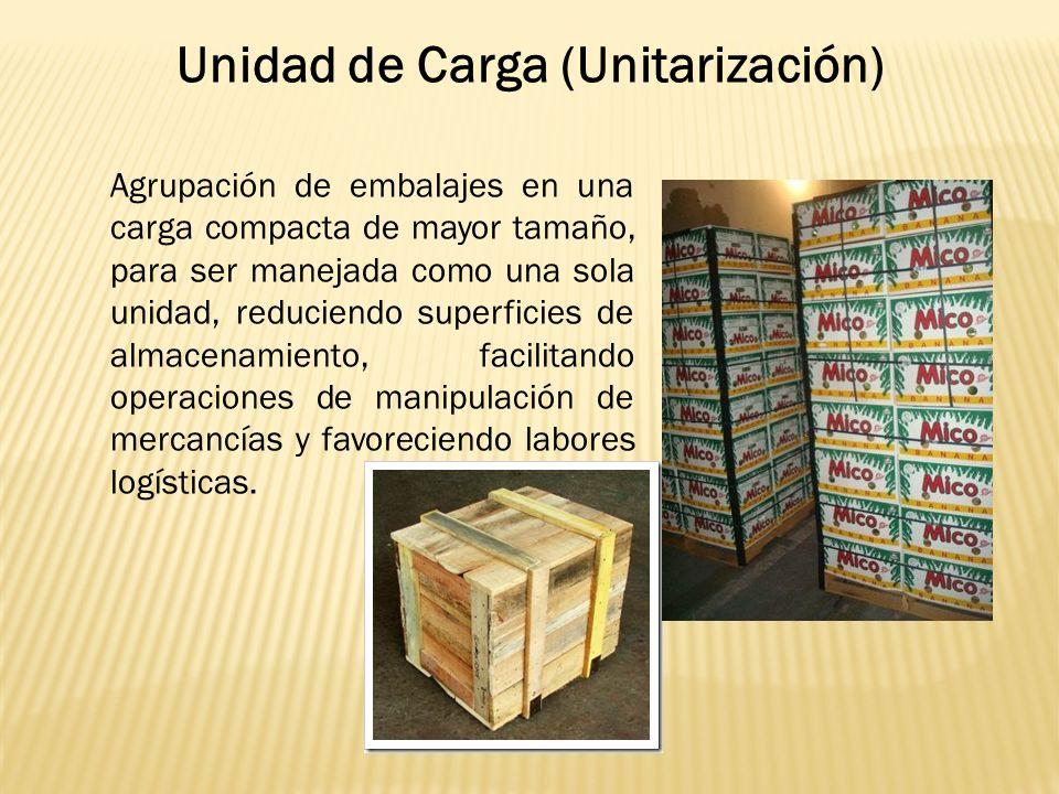 Agrupación de embalajes en una carga compacta de mayor tamaño, para ser manejada como una sola unidad, reduciendo superficies de almacenamiento, facilitando operaciones de manipulación de mercancías y favoreciendo labores logísticas.
