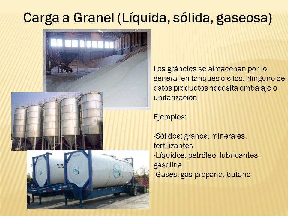Carga a Granel (Líquida, sólida, gaseosa) Los gráneles se almacenan por lo general en tanques o silos.