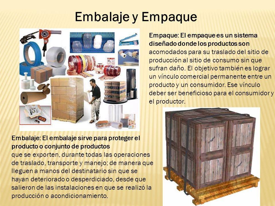 Empaque: El empaque es un sistema diseñado donde los productos son acomodados para su traslado del sitio de producción al sitio de consumo sin que sufran daño.