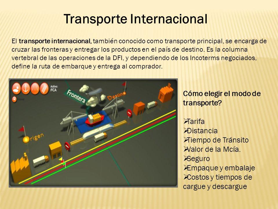 Transporte Internacional El transporte internacional, también conocido como transporte principal, se encarga de cruzar las fronteras y entregar los productos en el país de destino.