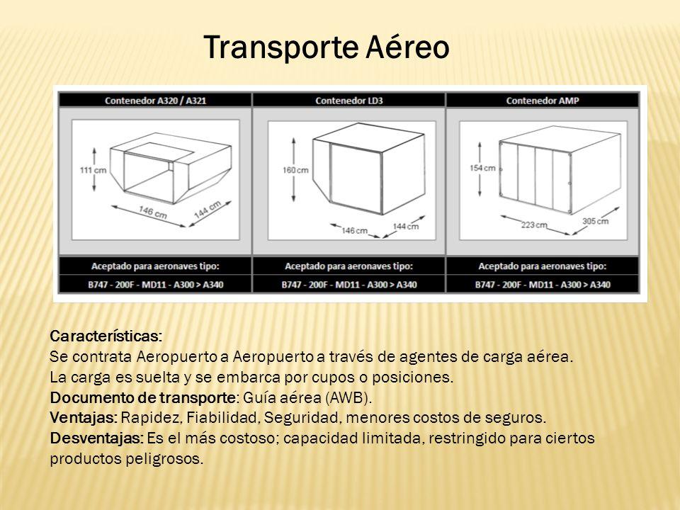 Transporte Aéreo Características: Se contrata Aeropuerto a Aeropuerto a través de agentes de carga aérea.