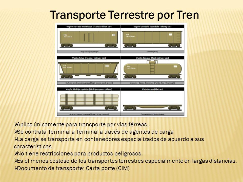 Transporte Terrestre por Tren Aplica únicamente para transporte por vías férreas.
